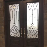 double steel front door with glass